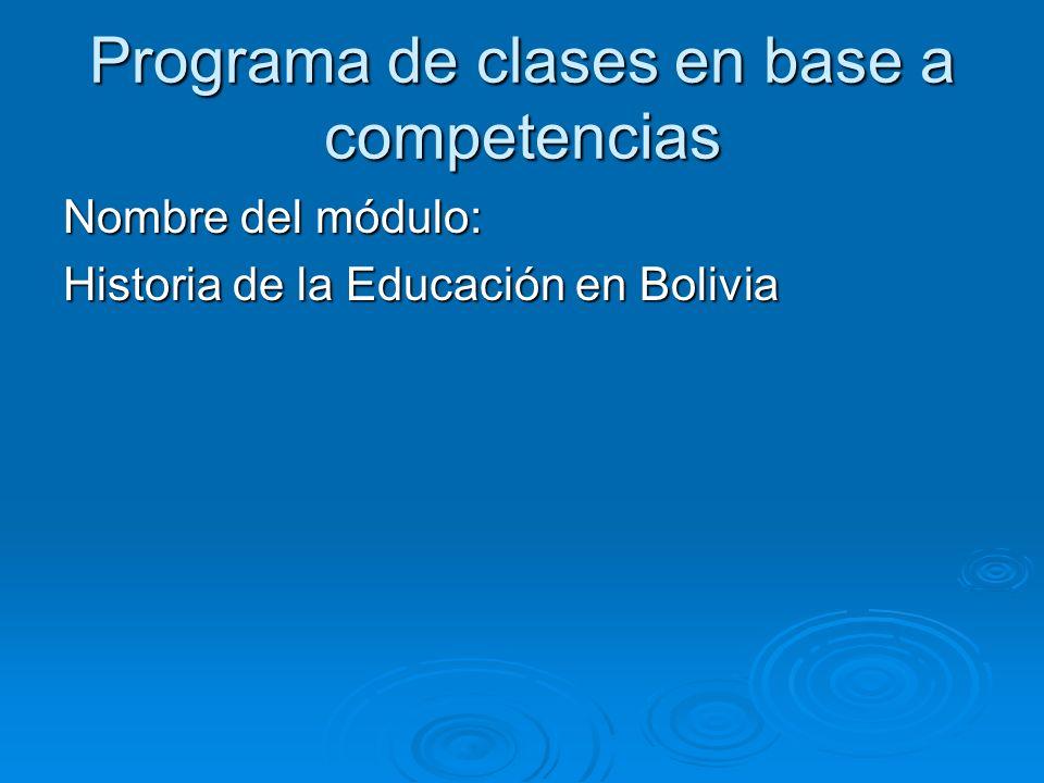 Programa de clases en base a competencias