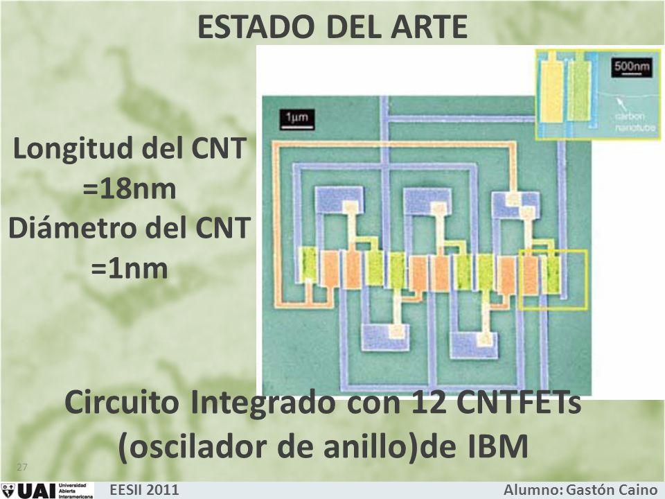 Circuito Integrado con 12 CNTFETs (oscilador de anillo)de IBM