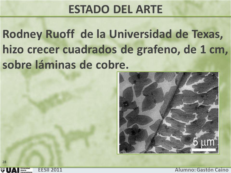 ESTADO DEL ARTE Rodney Ruoff de la Universidad de Texas, hizo crecer cuadrados de grafeno, de 1 cm, sobre láminas de cobre.