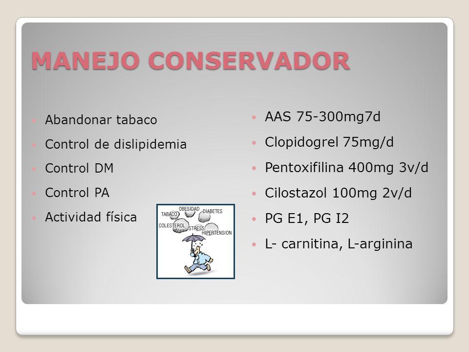 MANEJO CONSERVADOR AAS 75-300mg7d Clopidogrel 75mg/d