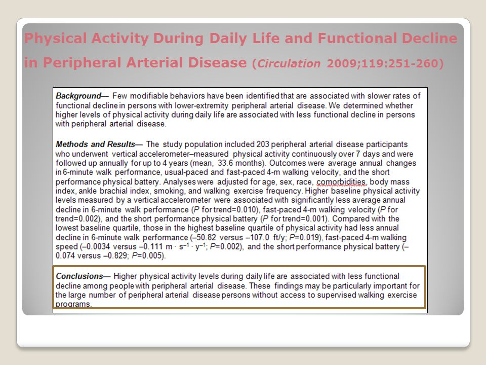 Physical Activity During Daily Life and Functional Decline in Peripheral Arterial Disease (Circulation 2009;119:251-260)