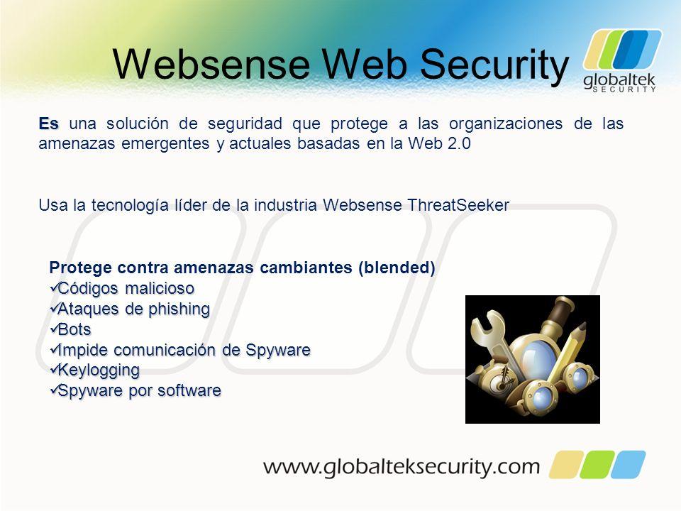 Websense Web Security Es una solución de seguridad que protege a las organizaciones de las amenazas emergentes y actuales basadas en la Web 2.0.