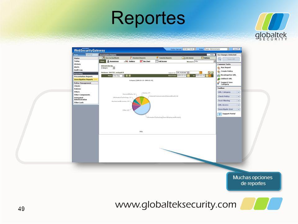 Reportes Muchas opciones de reportes