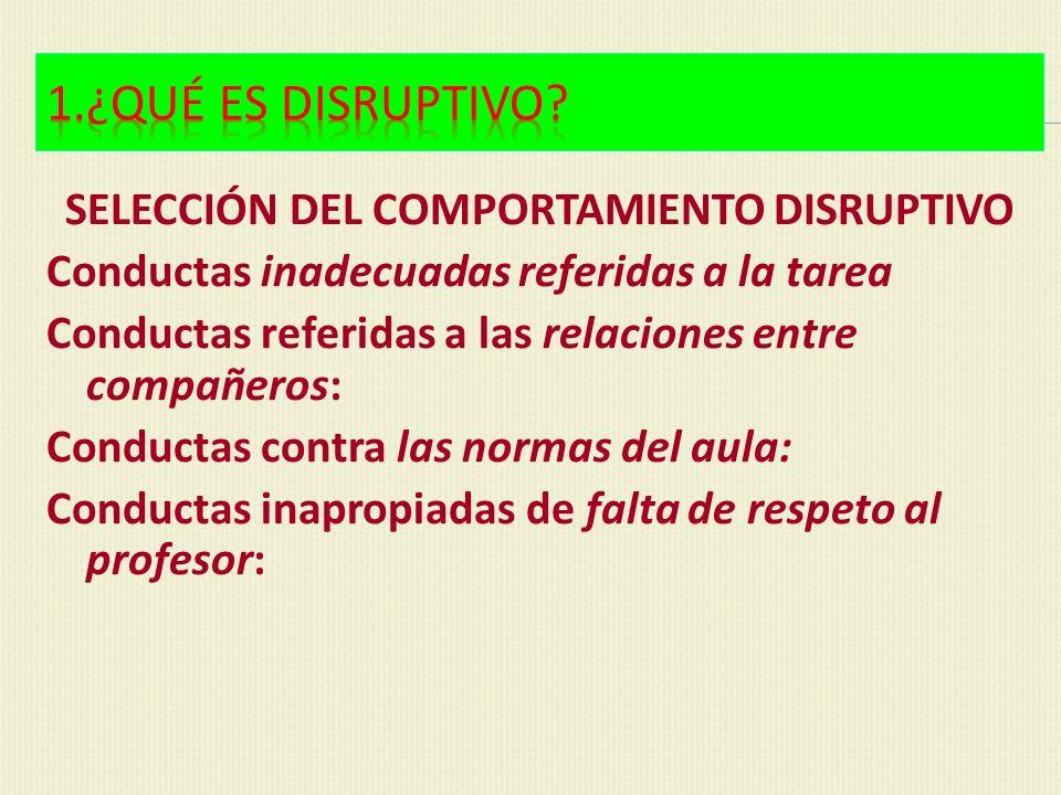 SELECCIÓN DEL COMPORTAMIENTO DISRUPTIVO
