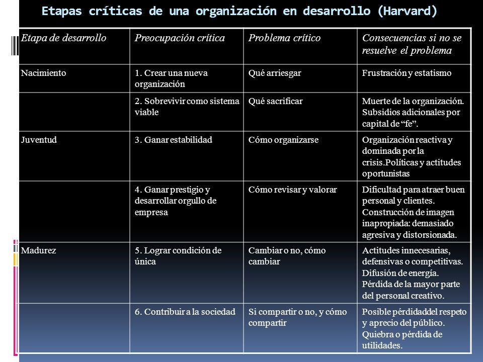 Etapas críticas de una organización en desarrollo (Harvard)