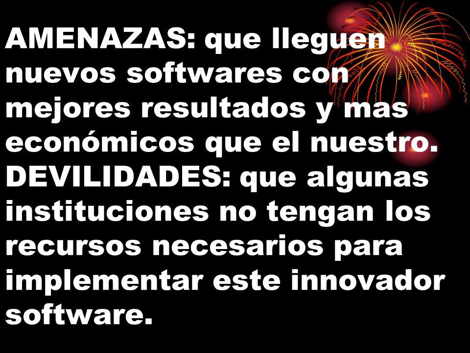 AMENAZAS: que lleguen nuevos softwares con mejores resultados y mas económicos que el nuestro.