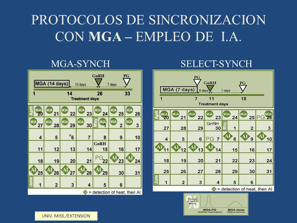 PROTOCOLOS DE SINCRONIZACION CON MGA – EMPLEO DE I.A.