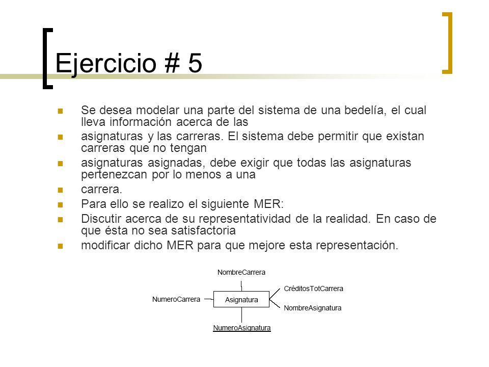 Ejercicio # 5 Se desea modelar una parte del sistema de una bedelía, el cual lleva información acerca de las.