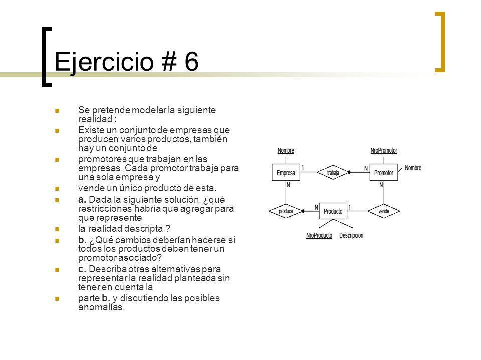 Ejercicio # 6 Se pretende modelar la siguiente realidad :