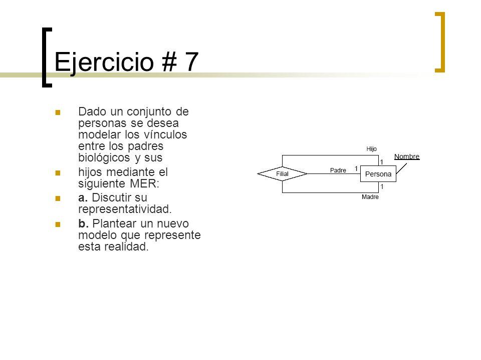 Ejercicio # 7 Dado un conjunto de personas se desea modelar los vínculos entre los padres biológicos y sus.