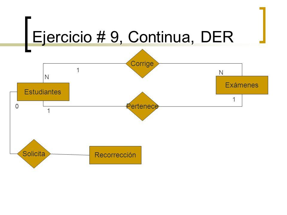 Ejercicio # 9, Continua, DER