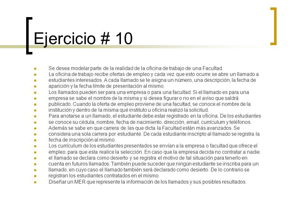 Ejercicio # 10 Se desea modelar parte de la realidad de la oficina de trabajo de una Facultad.