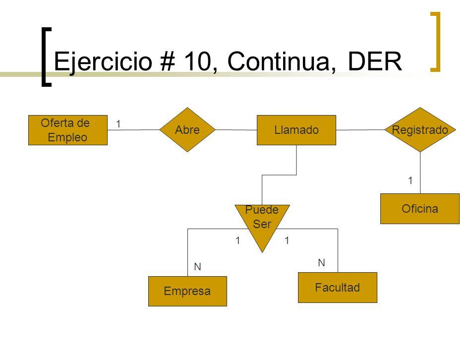 Ejercicio # 10, Continua, DER