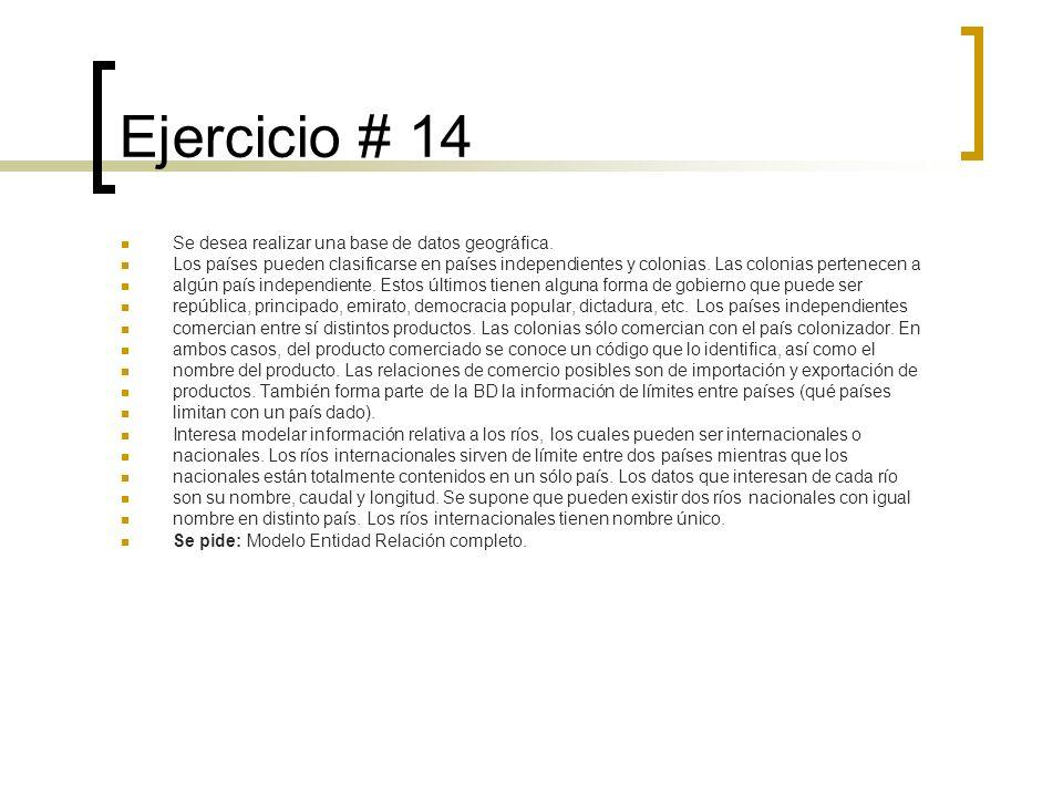 Ejercicio # 14 Se desea realizar una base de datos geográfica.