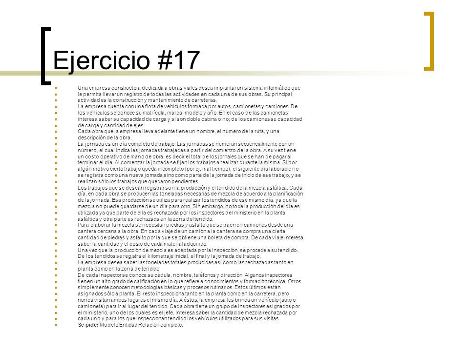Ejercicio #17 Una empresa constructora dedicada a obras viales desea implantar un sistema informático que.