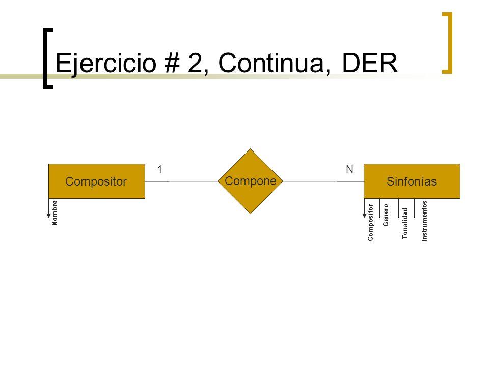 Ejercicio # 2, Continua, DER