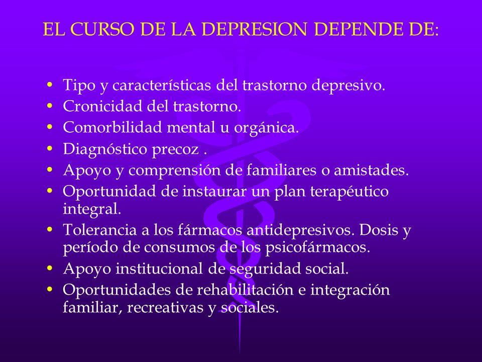 EL CURSO DE LA DEPRESION DEPENDE DE: