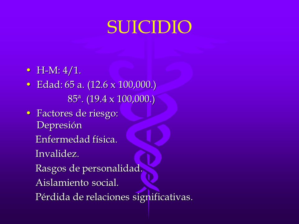 SUICIDIO H-M: 4/1. Edad: 65 a. (12.6 x 100,000.)