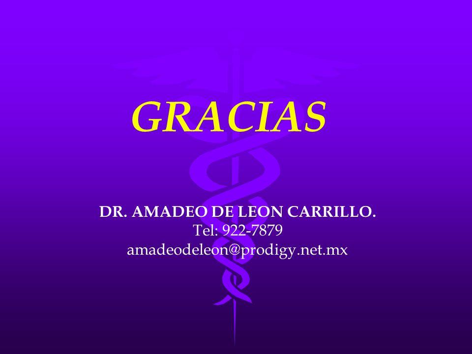 DR. AMADEO DE LEON CARRILLO. Tel: 922-7879 amadeodeleon@prodigy.net.mx