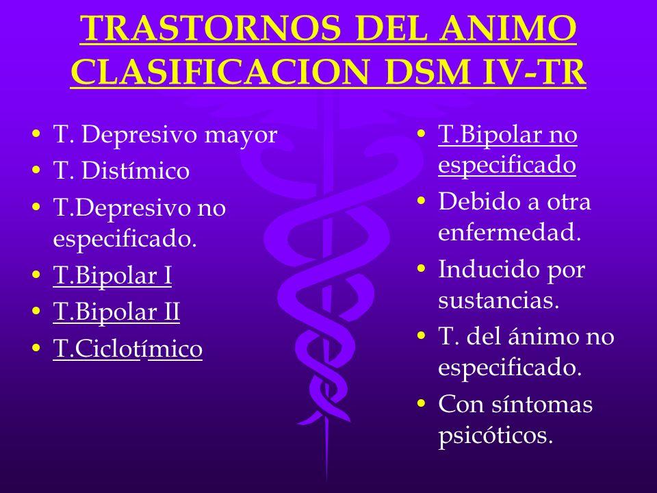 TRASTORNOS DEL ANIMO CLASIFICACION DSM IV-TR