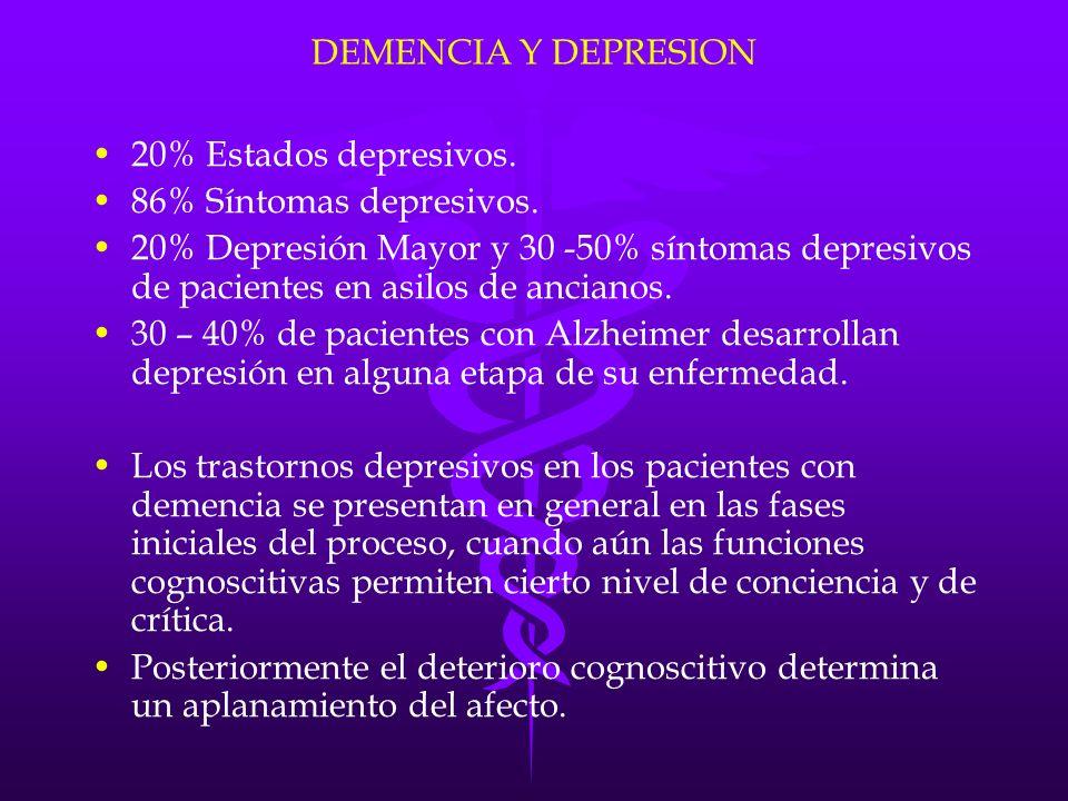 DEMENCIA Y DEPRESION 20% Estados depresivos. 86% Síntomas depresivos.