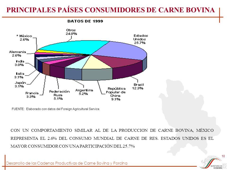 PRINCIPALES PAÍSES CONSUMIDORES DE CARNE BOVINA