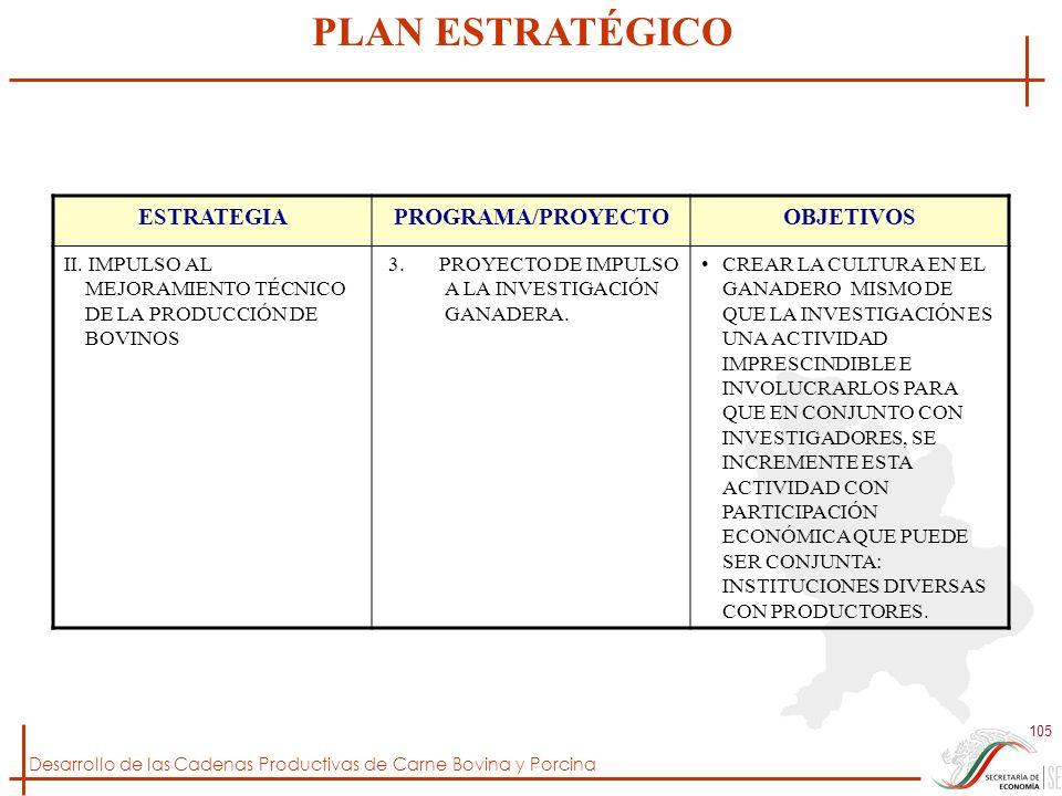 PLAN ESTRATÉGICO ESTRATEGIA PROGRAMA/PROYECTO OBJETIVOS