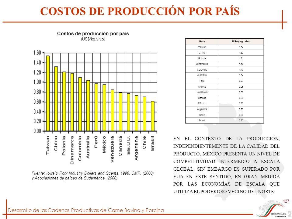 COSTOS DE PRODUCCIÓN POR PAÍS