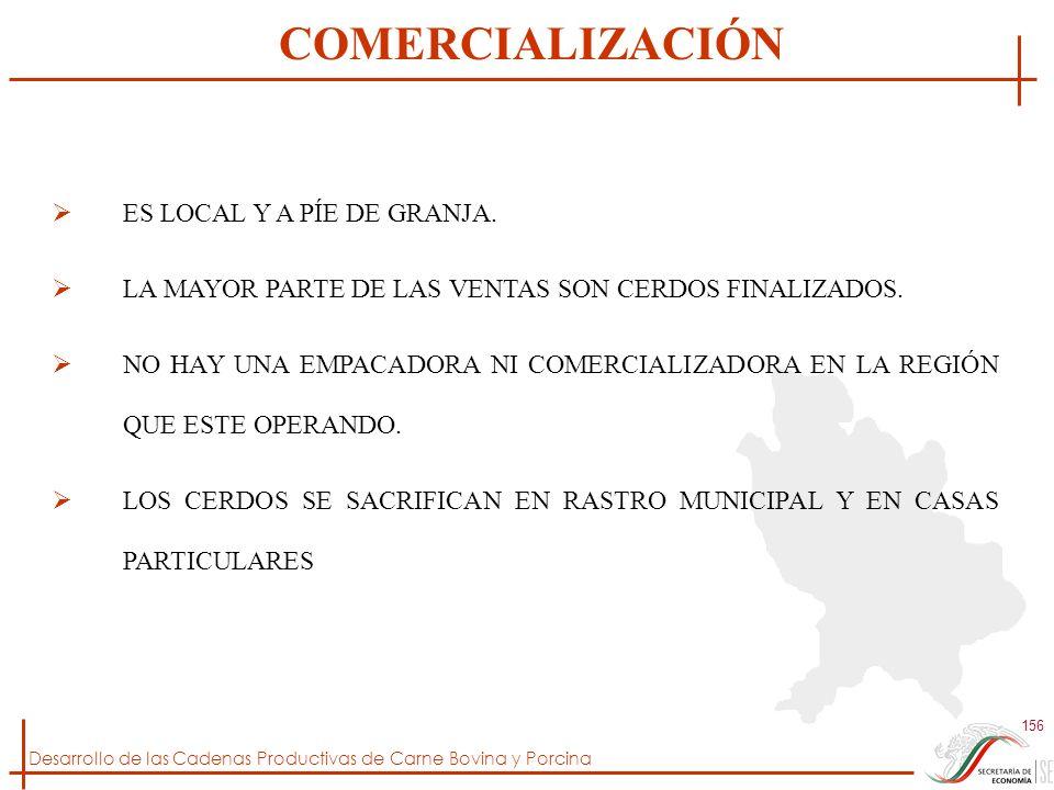 COMERCIALIZACIÓN ES LOCAL Y A PÍE DE GRANJA.