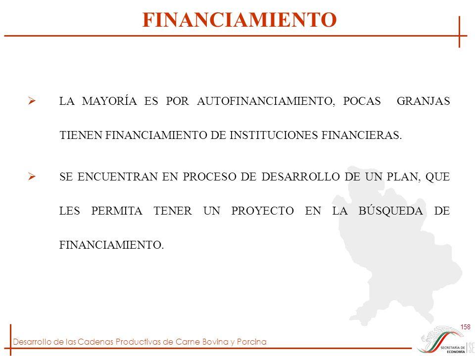 FINANCIAMIENTO LA MAYORÍA ES POR AUTOFINANCIAMIENTO, POCAS GRANJAS TIENEN FINANCIAMIENTO DE INSTITUCIONES FINANCIERAS.