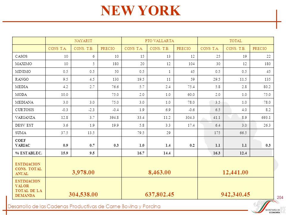 NEW YORK NAYARIT. PTO VALLARTA. TOTAL. CONS T.A. CONS. T.B. PRECIO. CASOS. 10. 6. 15. 13.