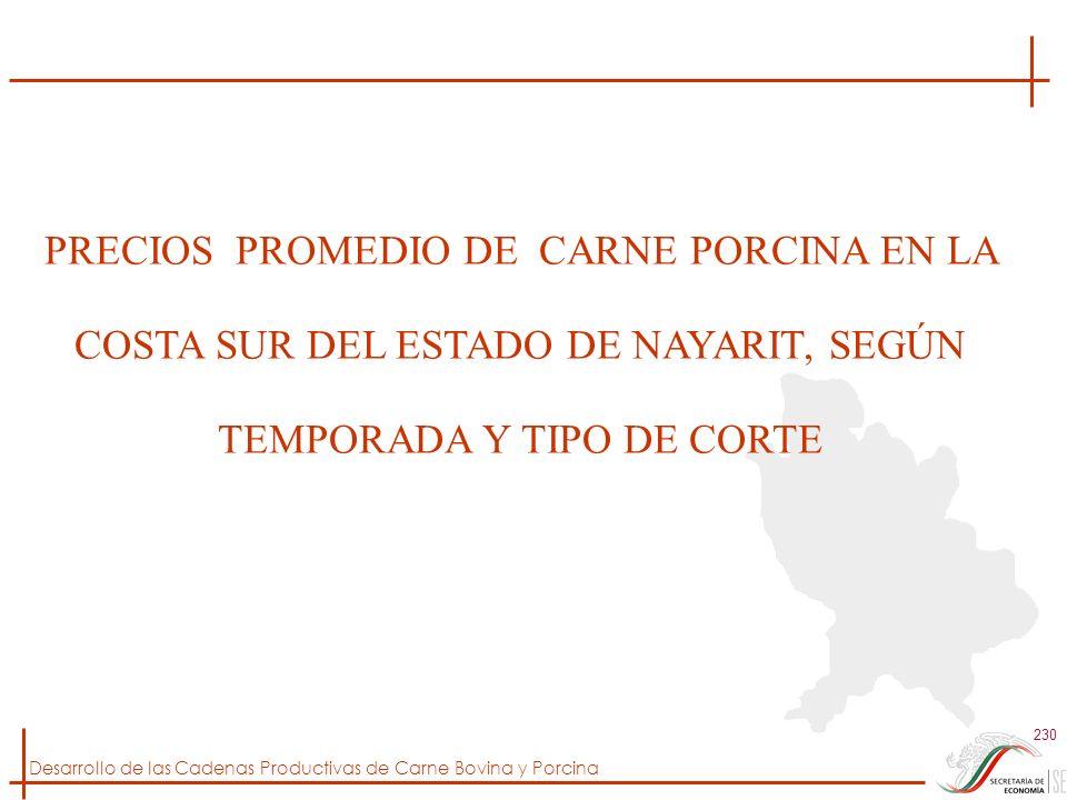 PRECIOS PROMEDIO DE CARNE PORCINA EN LA COSTA SUR DEL ESTADO DE NAYARIT, SEGÚN TEMPORADA Y TIPO DE CORTE