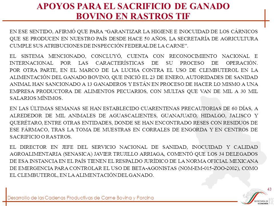 APOYOS PARA EL SACRIFICIO DE GANADO BOVINO EN RASTROS TIF