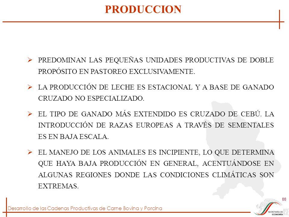 PRODUCCION PREDOMINAN LAS PEQUEÑAS UNIDADES PRODUCTIVAS DE DOBLE PROPÓSITO EN PASTOREO EXCLUSIVAMENTE.