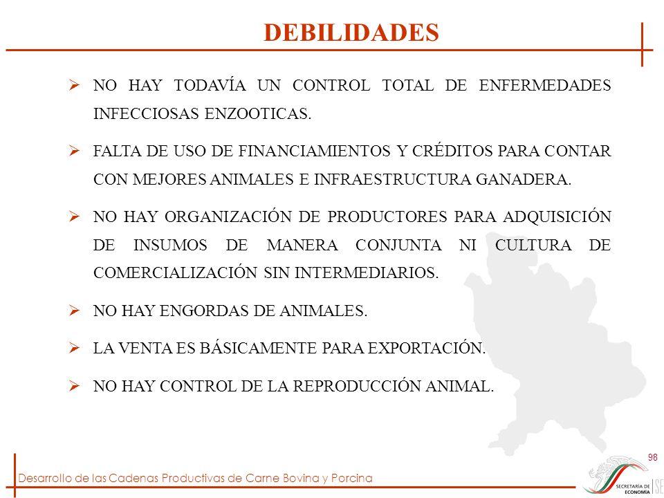 DEBILIDADES NO HAY TODAVÍA UN CONTROL TOTAL DE ENFERMEDADES INFECCIOSAS ENZOOTICAS.