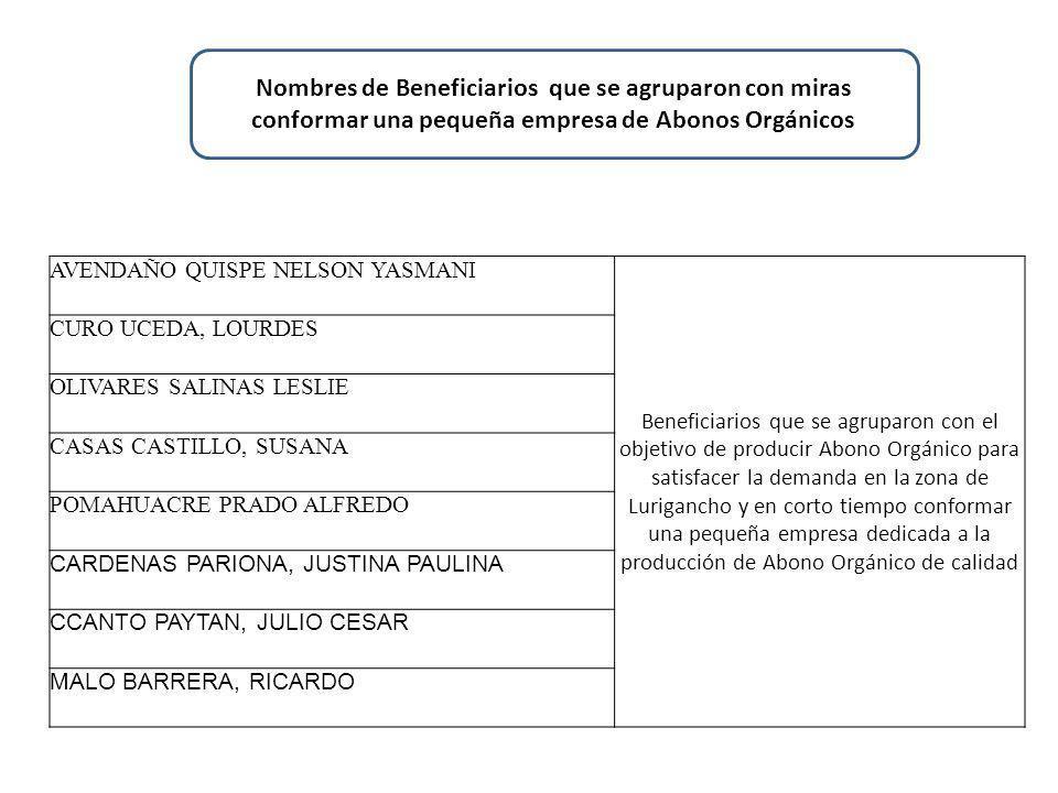 Nombres de Beneficiarios que se agruparon con miras conformar una pequeña empresa de Abonos Orgánicos