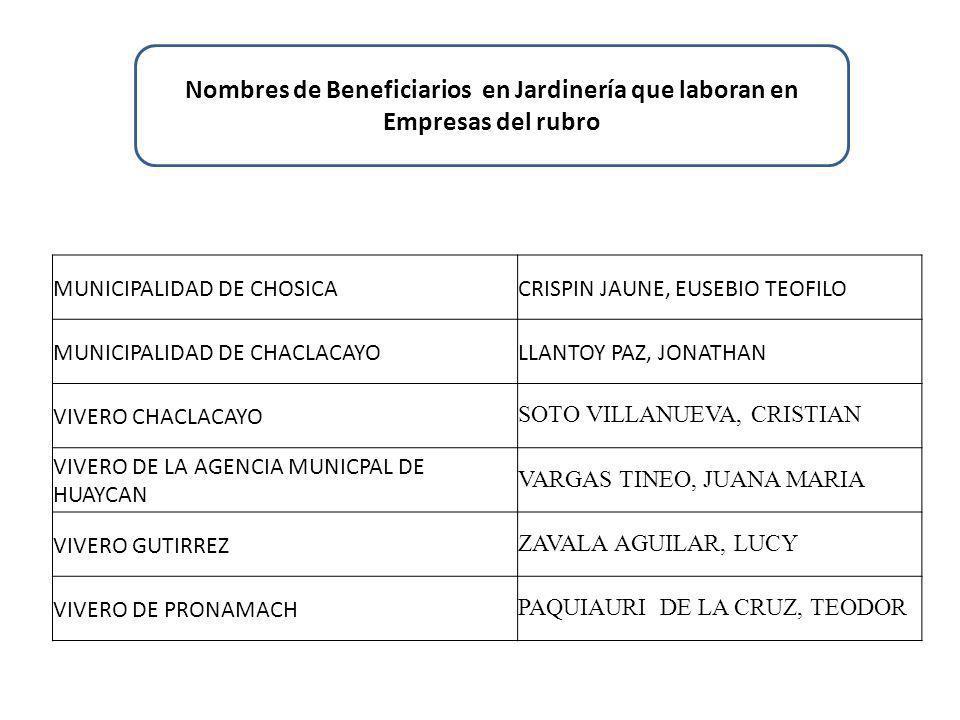 Nombres de Beneficiarios en Jardinería que laboran en Empresas del rubro