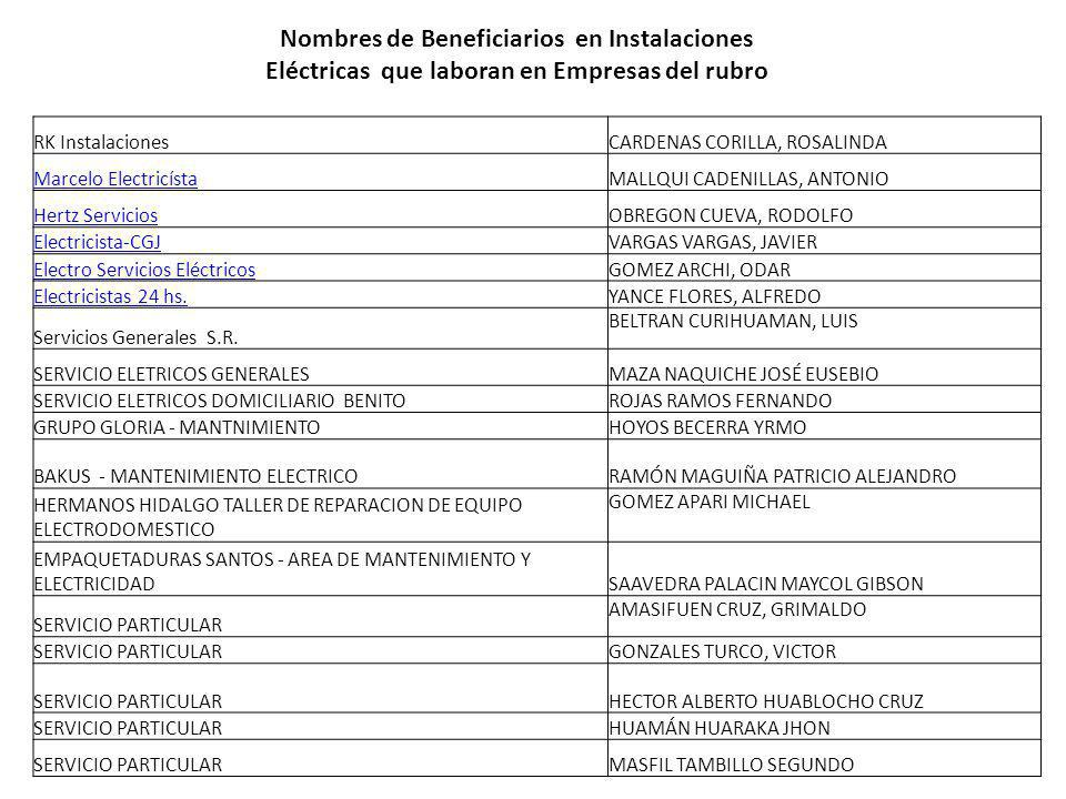 Nombres de Beneficiarios en Instalaciones Eléctricas que laboran en Empresas del rubro