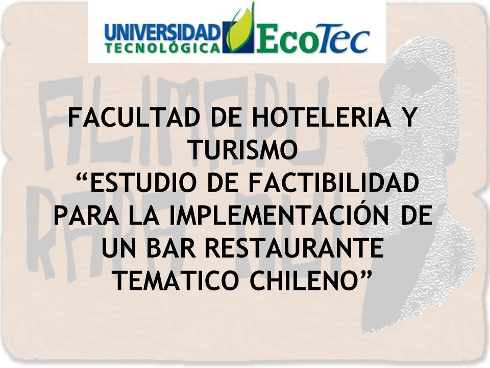 FACULTAD DE HOTELERIA Y TURISMO ESTUDIO DE FACTIBILIDAD PARA LA IMPLEMENTACIÓN DE UN BAR RESTAURANTE TEMATICO CHILENO