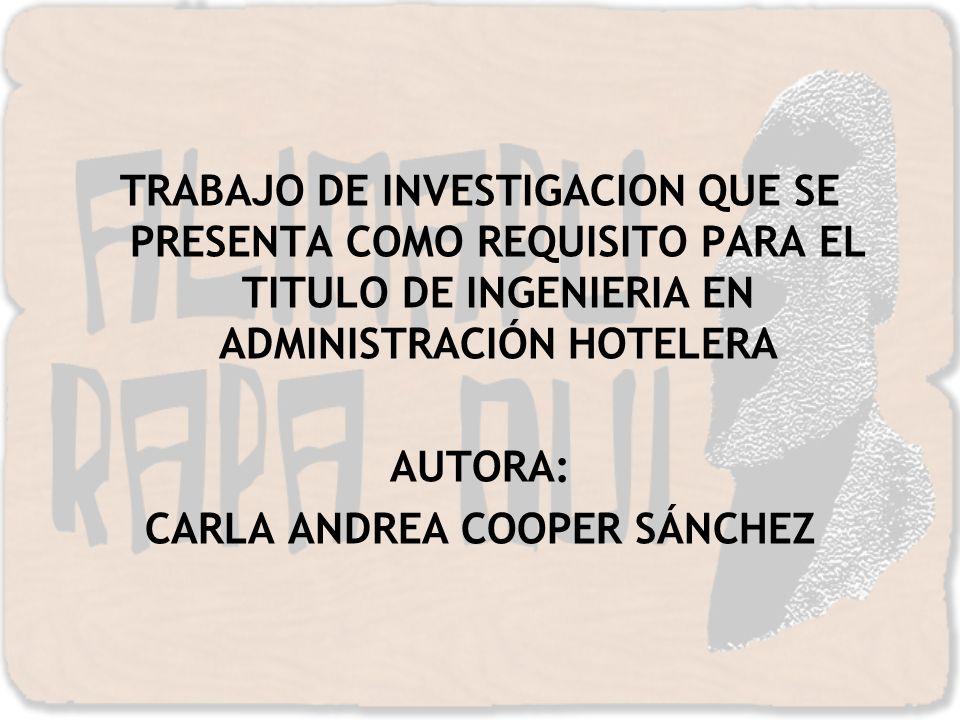 TRABAJO DE INVESTIGACION QUE SE PRESENTA COMO REQUISITO PARA EL TITULO DE INGENIERIA EN ADMINISTRACIÓN HOTELERA AUTORA: CARLA ANDREA COOPER SÁNCHEZ