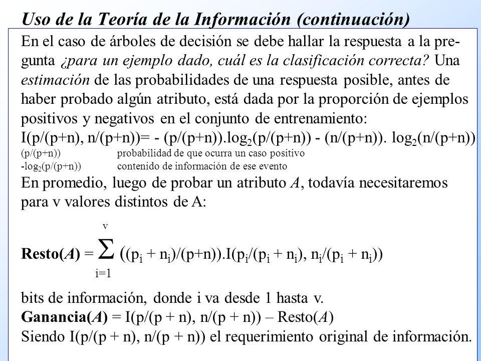 Uso de la Teoría de la Información (continuación)
