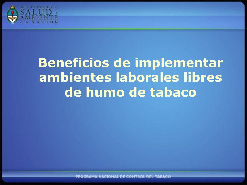 Beneficios de implementar ambientes laborales libres de humo de tabaco