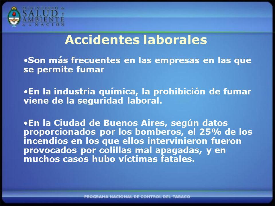 Accidentes laborales Son más frecuentes en las empresas en las que se permite fumar.