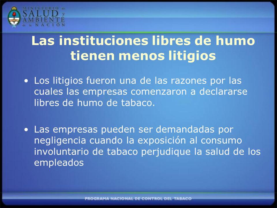 Las instituciones libres de humo tienen menos litigios