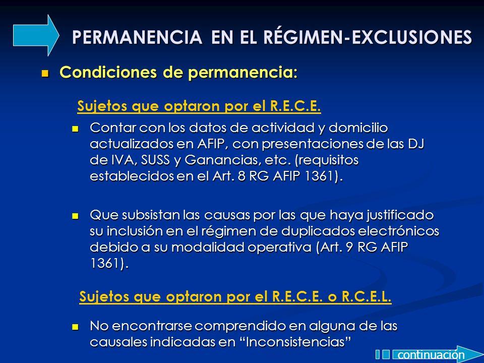 PERMANENCIA EN EL RÉGIMEN-EXCLUSIONES