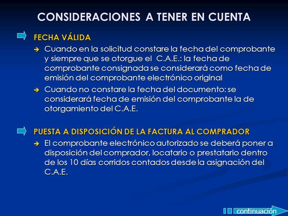 CONSIDERACIONES A TENER EN CUENTA