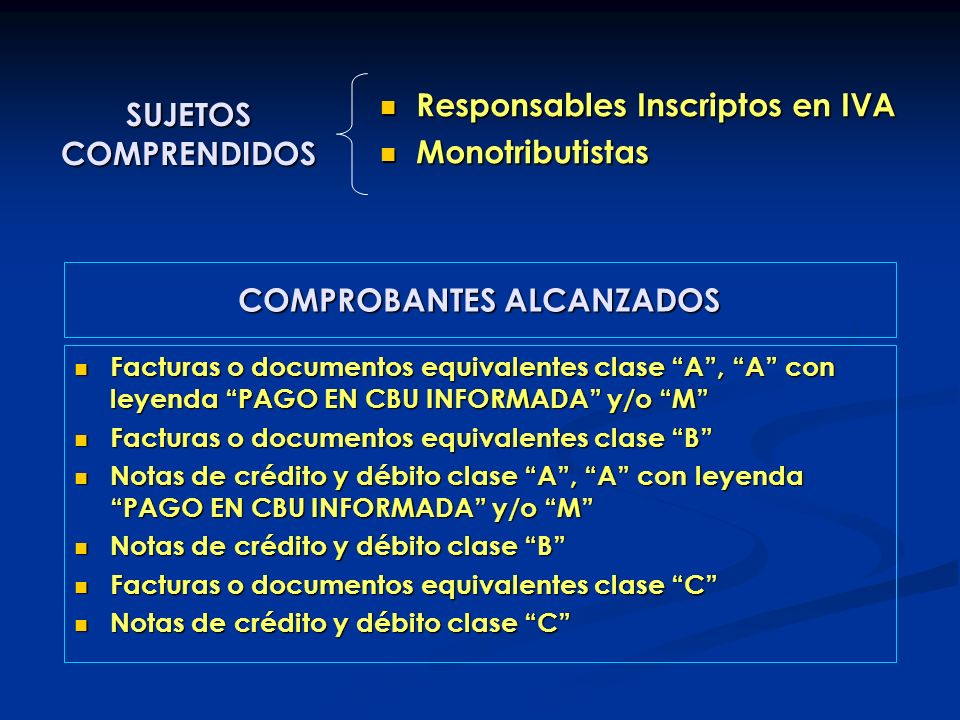 COMPROBANTES ALCANZADOS