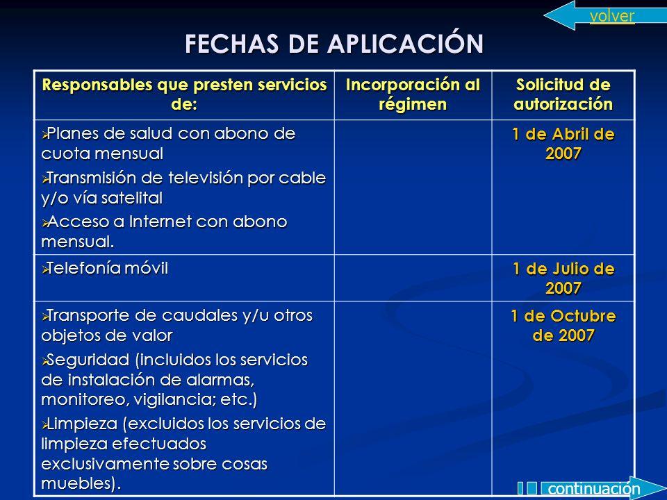 FECHAS DE APLICACIÓN volver Responsables que presten servicios de: