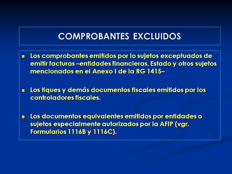 COMPROBANTES EXCLUIDOS