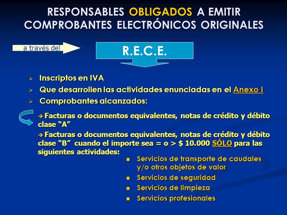 RESPONSABLES OBLIGADOS A EMITIR COMPROBANTES ELECTRÓNICOS ORIGINALES